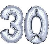 DekoRex número Globo decoración cumpleaños Brillante para Aire en argentado 40cm de Alto No. 30