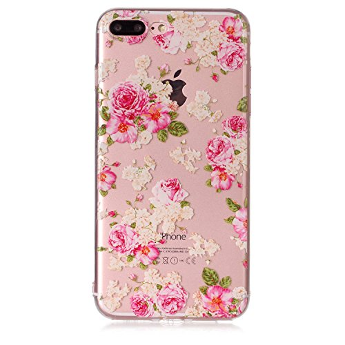 iPhone 7 Plus 8 Plus Custodia, SportFun Slim Flexible TPU Custodia Protettiva in silicone per iPhone 8 Plus 7 Plus Case gufo Crisantemo cavallo (Hirsch) Pfingstrose Blumen
