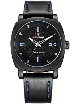 blau leuchtender Quarz Sport Gesicht Männer mit Lederband Uhr-Kalender-beiläufige Uhr mattem Fall beobachten