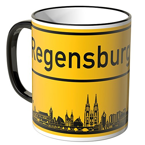 Wandkings® Tasse, Skyline Regensburg - SCHWARZ