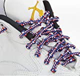 XTENEX - X300 Blue/White/Red 30 (PATENTED) Adjustable Eyelet Blocking No Tie Elastic Shoe Laces for an Extreme Lock In Performance Fit