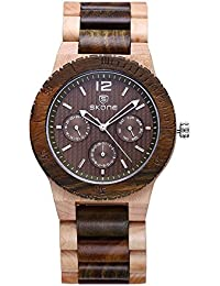SKONE Wood Mens Watch with Nail Scale and 3eye Function Dials Quartz (Maple Green sandalwood)