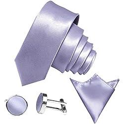 3-SET schmale 6cm Flieder-Violett Herrenkrawatte Binder Manschettenknöpfe Einstecktuch Satin Seide-Optik Hochzeitskrawatte