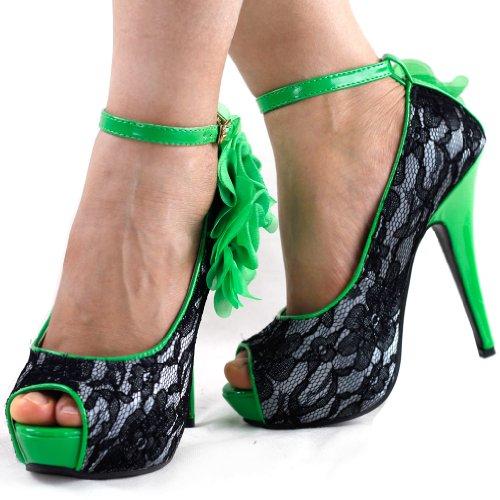 Mostriamo donne Story Black Lace Scarpe a punta aperta Fiore stiletto della piattaforma, LF30408 Verde