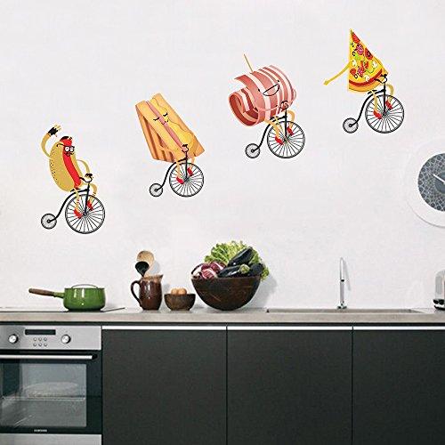 DecalMile Vinilos Cocina Pegatinas de Pared Hot Dog Pizza con Bicicleta Decorativos Adhesiva Pared Cocina Dormitorio Salón