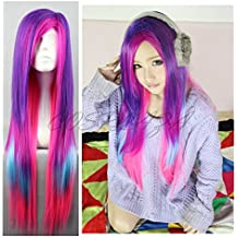 COSPLAZA Anime Cosplay Pelucas Larga Recto Rosa Azul y Morado Lolita chica de pelo