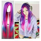 COSPLAZA Anime Cosplay Perücken lang gerade Pink Blau Volett Lolita Mädchen Haar