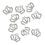 10Teile Glas Ornament Strasssteine für Nageldesign Kunst Maniküre und Schutzhülle (Krone silber)