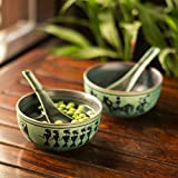 ExclusiveLane Warli Hand-Painted Kitchen Set Ceramic Soup Bowl With Spoon (Set Of 2)