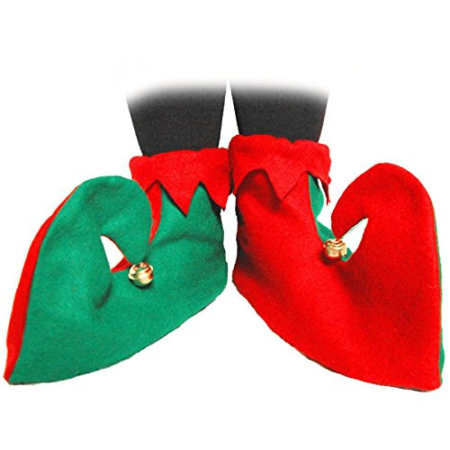 Jester Kostüme Damen (Erwachsene grün rot JESTER Elf Stiefel Weihnachten Schuhe Kostüm Fancy Party)
