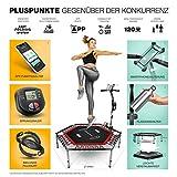 Messe-Neuheit 2019! Smart Fitness Trampolin mit APP + Sprungzähler & Pulsgurt, 133 cm, klappbar, 8fach höhenverstellbarer Haltegriff mit Handy- & Flaschenhalterung, HTX100 Indoor Jumping Workout - 7