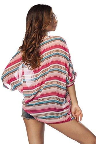Tunika Streifen Gestreift Oberteil Shirt Sommershirt Ärmel Bunt Sommer Strand rosa/pink/blau