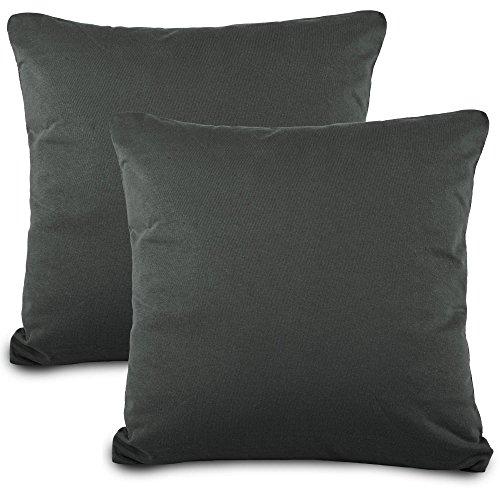 Lot de 2Taie d'oreiller 80x 80Jersey qualité Housse de Coussin avec Fermeture éclair 100% Coton Mako Coton Aqua Classic Line Textile 0011467Anthracite