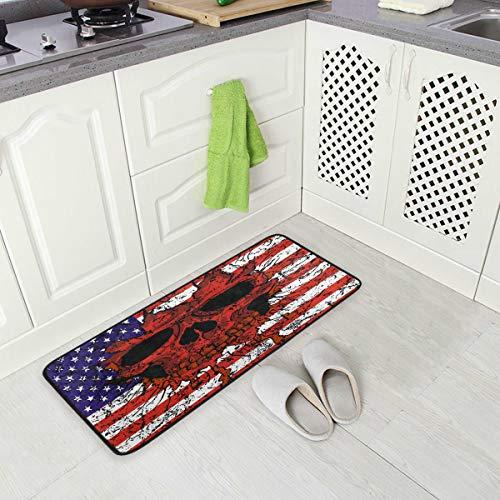 Mnsruu Küchenmatte, Amerikanische Flagge Schädel Küchen Teppiche Wasserdicht rutschfeste Fußmatte Bad Läufer Bereich Teppich Teppich, (90x51cm) -
