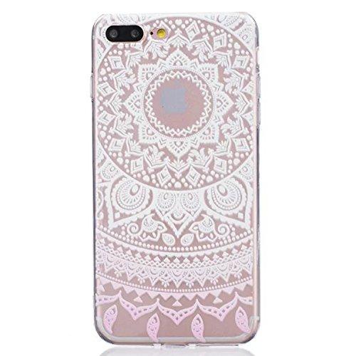 Yrlehoo custodia per iPhone 7 Plus 5.5 pollici, Custodia protettiva posteriore in silicone morbido per iPhone 7 Plus 5.5 case cover, farfalla fiori