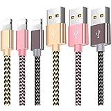 Cable Phone Chargeur Phone[3Pack-1.5M] Nylon Tressé Câble USB Charge Rapide Câble Phone pour Phone X/XS/8/8 Plus / 7/7 Plus / 6s / 6s Plus / 6/6 Plus/Se / 5s / 5c / 5, Pad 2/3 /4 Mini(Or,Rose,Gris)