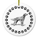 Christmas Ornament Crafts English Setter con zampa stampa cerchio rotondo albero di Natale Decorazioni regalo anniversario