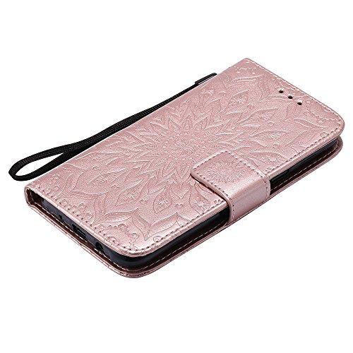 Für Samsung Galaxy J5 Fall, Prägen Sonnenblume Magnetische Muster Premium Soft PU Leder Brieftasche Stand Case Cover mit Lanyard & Halter & Card Slots ( Color : Pink ) Rose Gold