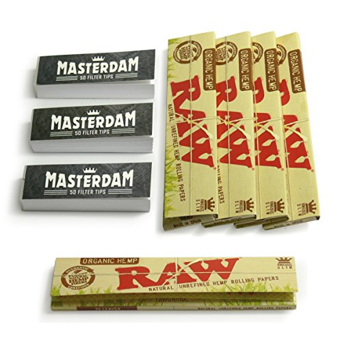 5-pack-raw-organic-king-size-slim-rolling-papers-bonus-3-booklets-of-masterdam-rolling-tips-160-raw-