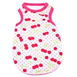 #3: Rrimin Small Cute Vest Puppy Dog Cat Clothes Pet Shirt for Summer (M, Cherry Red)