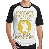 Particular Profesor de inglés por el día Ninja por la Noche Camisetas de béisbol de Manga Corta de los Hombres Ultraman Camisetas Ninja por la Noche para Hombre Tops Negro XXL