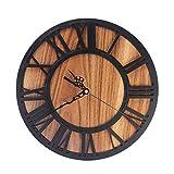 HYZH 12 Zoll/30CM Römische Zahlen Holz Lautlos Vintage Wanduhr Uhr Ohne Tickgeräusche