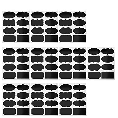 KESOTO 80 pièces Tableau Tableau Noir Tasse jar Confiture Cuisine étiquette Sticker Mural Autocollant