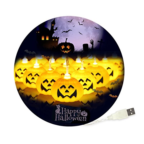Grande zucca luci natalizie a led, funzionamento a usb, 30led, 3meters, fai da te decorazione per feste di halloween/carnevale/festa/celebrazione e altre occasioni speciali