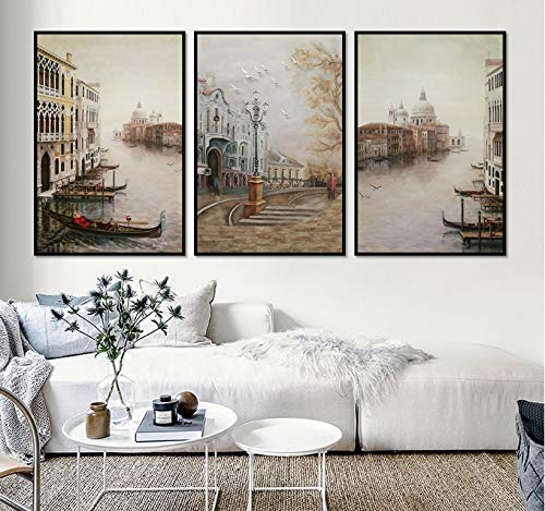 Water City Landscape Canvas Paintings Modular Pictures