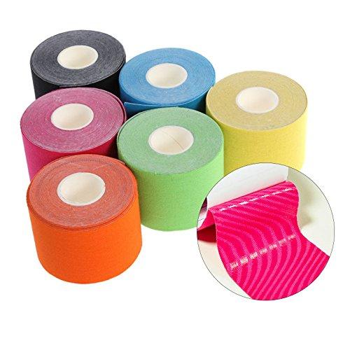 JUEYAN 6 Rollen Kinesiologie Tape 5 X 500 CM Sporttape Wasserdicht Elastisches Kinesiology Sport Tape Tapeverband aus Baumwolle - 5
