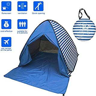 Tragbare Pop-up-Zelt 2-3Personen Automatische Instant-Zelt, Wasserdicht, Anti-UV Sun Shelter Lampenschirm, Den Strand, Camping-Zelt für Outdoor-Aktivitäten, Dunkelblau
