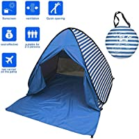 mieres Kids' 055 2-3 Person Automatic Pop-up Beach Tent, Blue, 150 x 142 x 110 cm