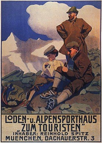 Vintage abiti e accessori Loden Alpi abbigliamento sportivo per turisti, Monaco di Baviera, Germania C1905250gsm lucido arte della riproduzione A3poster