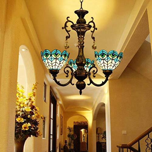 Tiffany-Stil Kronleuchter, 3-Licht Glasmalerei Pfau Schwanz Muster Schatten Anhänger Beleuchtung, Retro Deckenleuchten Hängelampe für Wohnzimmer Schlafzimmer -