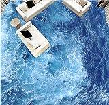 Wapel Fototapete 3D Wandtapete Benutzerdefinierte Größe Tapeten Blaue Seewelle, Badezimmerschlafzimmer Küchenboden Dekorationswandgemälde 200x140cm