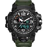 ZIHENGUO Herren-Sportuhr, WR50M Wasserdichte Digitale Militäruhren mit Countdown/Timer/Alarm, schlagfeste LED-Analog-Armbanduhr,Green