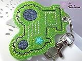 Schlüsselanhänger Traktor grün Anhänger für Kindergartentasche Schulranzen
