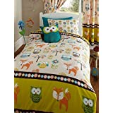 Woodland Creatures Junior Toddler Bed Size Duvet Cover & Pillowcase Set - Owls & Foxes by Bedmaker
