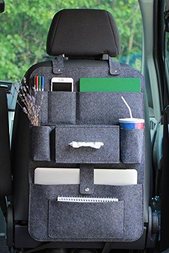 Preisvergleich Produktbild Rücksitzorganizer Autositz Filz Organizer mit Multitasche 62x41cm LuckySign®(Dunkelgrau)