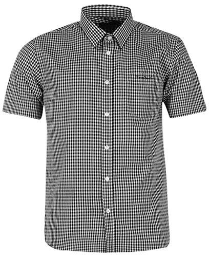 mens-short-sleeve-shirt-check-stripe-plain-large-black-wht-ging
