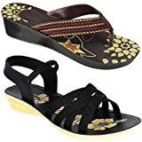 CAMFOOT Women Multicolour Latest Collection Stylish Sandal & Slippers-Pack of 2 (Combo-(2)-5016-983)