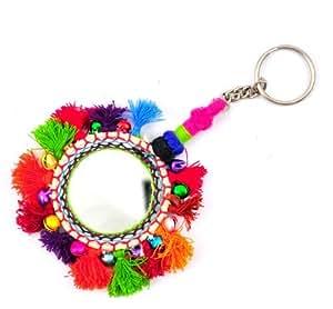 Indian Rajasthani Handmade Mirror Work Key Chains / Key Rings Gifts