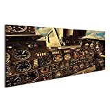 islandburner Bild Bilder auf Leinwand Altes Flugzeug-Cockpit Wandbild, Poster, Leinwandbild JAV