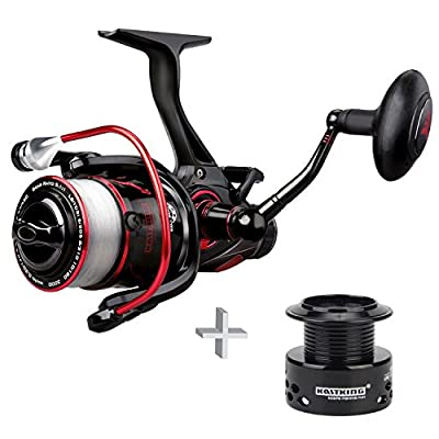 KastKing NEW! Sapre Spool Carp Fishing Reel with 6LB Free Line, Smooth Spinning Reel, Sharky Baitfeeder III Carp Pike Coarse Game Fishing by Eposeidon