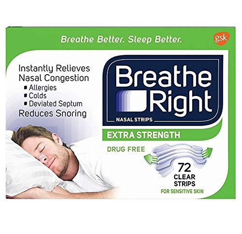 Breathe Right Nasal Strips - Extra Strength - CLEAR - 72 Clear Strips -