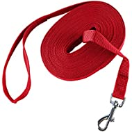 Dog Training Lead Long Rope Cotton Nylon Webbing Recall Obedience Line Leash for Pet (15m/50ft, Red)