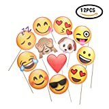 CHSYOO 12x Paper Party Supplies Adornos de Foto de Emoji Foto Panel Photo Booth Props, Favores de Fiesta para la Boda Fiesta de gallina Cumpleaños Baby Shower Kids Party Navidad Año