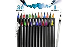 PuTwo Aquarelle Brosse Stylos Feutre Coloriage Stylo kit 20 Couleurs avec 1 Aqua Brush, Feutre Calligraphie Stylo Aquarelle Pinceaux Aquarelle pour Peinture Equisses Carnet Calligraphie Manga BD