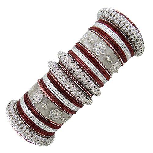 Traditionelle Metall Churi Set indische Bollywood Braut-Armbänder Schmuck-Geschenk 2 * 6 (Indische Armreifen Rot)