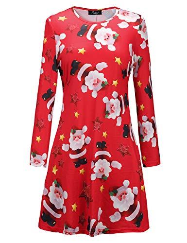 Ruiyige Weihnachtskleid für Mädchen Weihnachtsmann Druck Swing Kleid